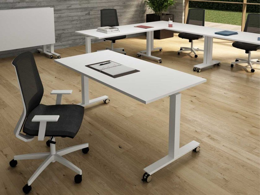 Melamine-faced chipboard office desk with flip-top with casters WINGLET   Office desk with flip-top by Bralco