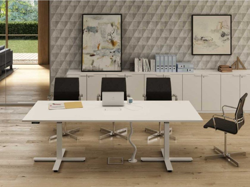 Height-adjustable rectangular melamine-faced chipboard meeting table with cable management WINGLET | Height-adjustable meeting table by Bralco