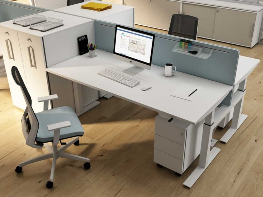 Rectangular melamine-faced chipboard office desk WINGLET | Melamine-faced chipboard office desk by Bralco