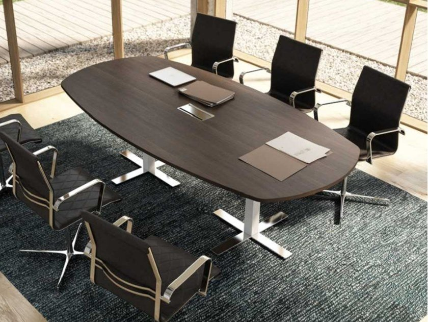 Melamine-faced chipboard meeting table with cable management WINGLET | Melamine-faced chipboard meeting table by Bralco