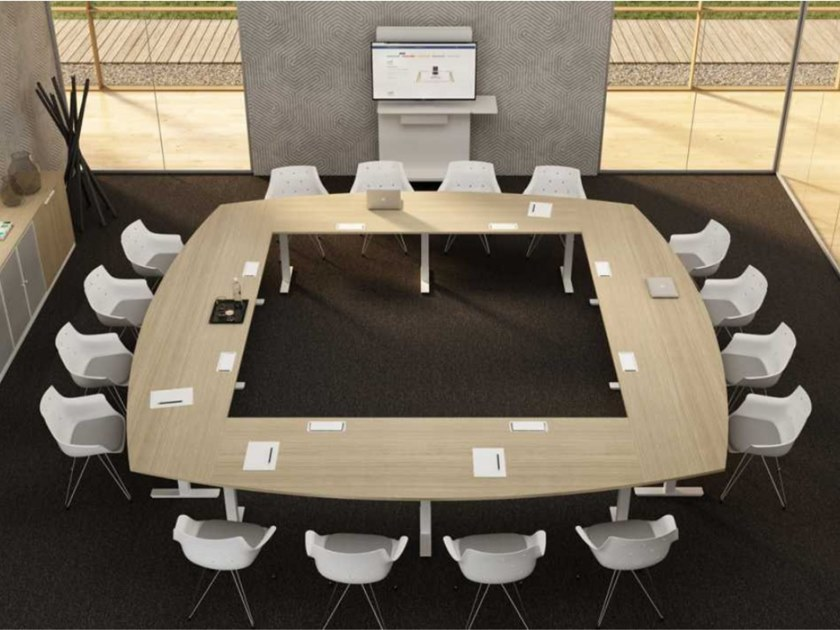 Square melamine-faced chipboard meeting table with cable management WINGLET   Square meeting table by Bralco