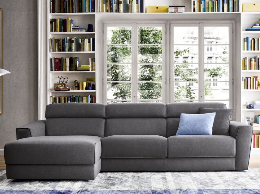 Fabric sofa with chaise longue WINSTON | Sofa with chaise longue by Felis