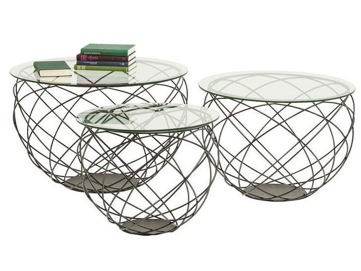 Round glass coffee table WIRE GRID | Coffee table by KARE-DESIGN