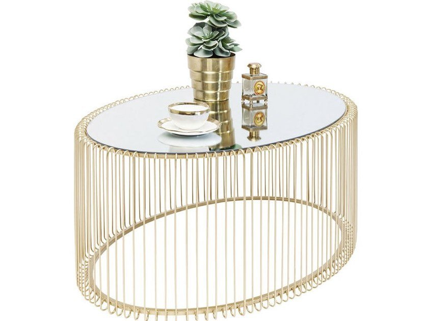 Oval mirrored glass coffee table WIRE UNO | Coffee table by KARE-DESIGN