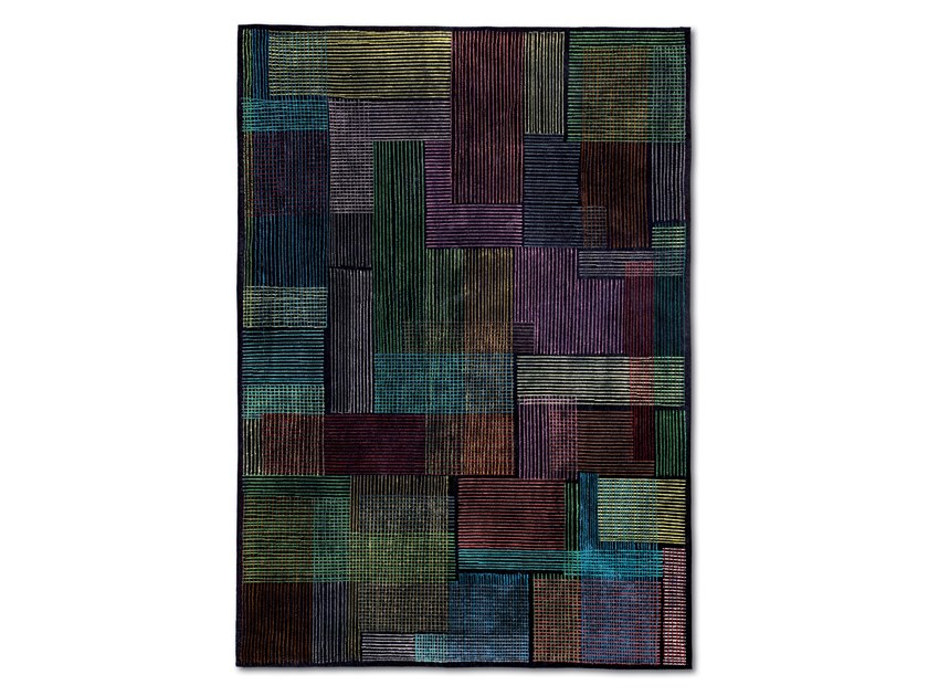 Striped patchwork hand knotted rug WISCONSIN by MissoniHome