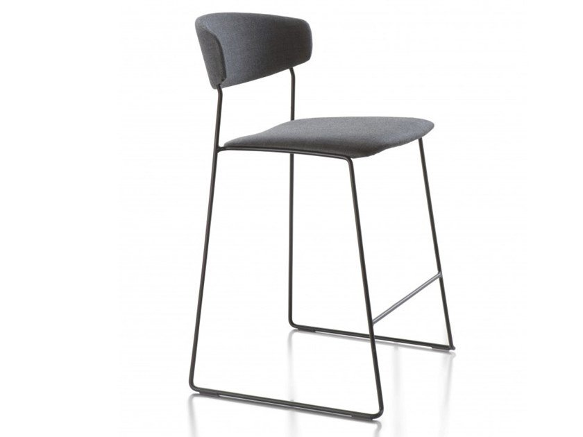 High steel stool with back WOLFGANG   Steel stool by Huppé