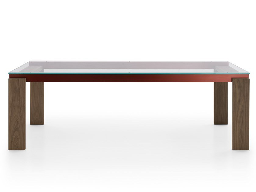 Rectangular wood and glass table PARALLEL STRUCTURE | Wood and glass table by B&B Italia