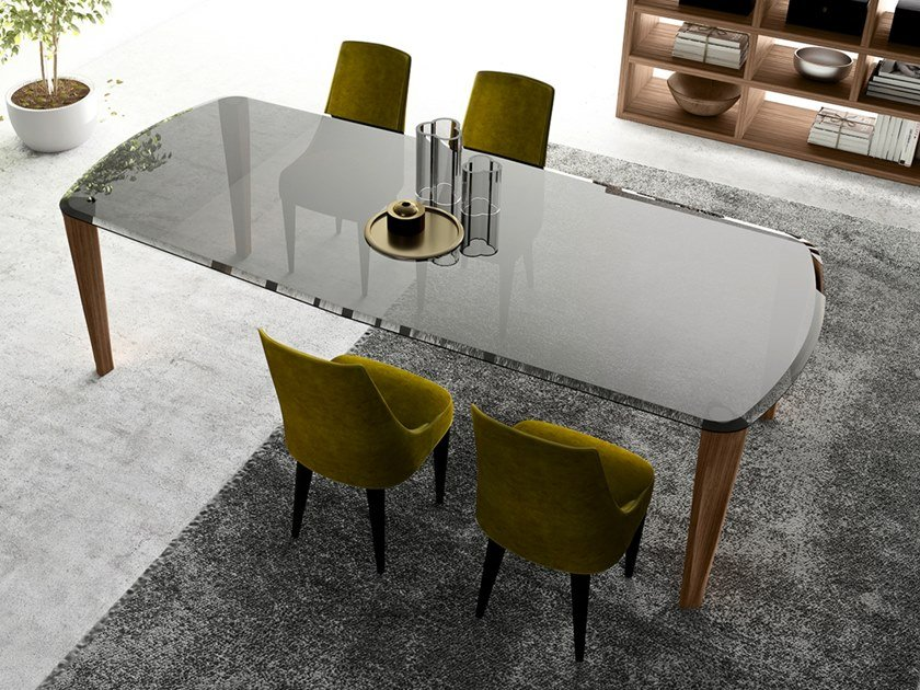 Rectangular wood and glass table THIN | Tempered glass table by EXENZA