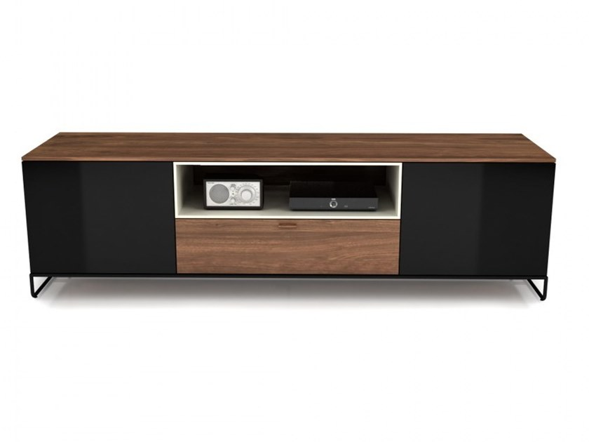 Low wood and glass TV cabinet LINEA | Wood and glass TV cabinet by Huppé