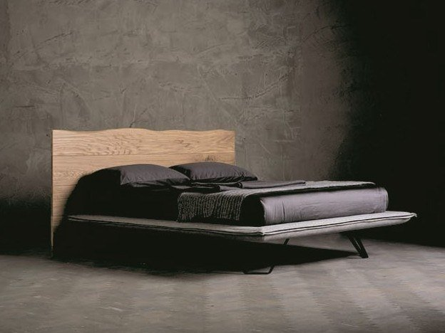 Upholstered solid wood double bed WOOD RING 6 by AltaCorte