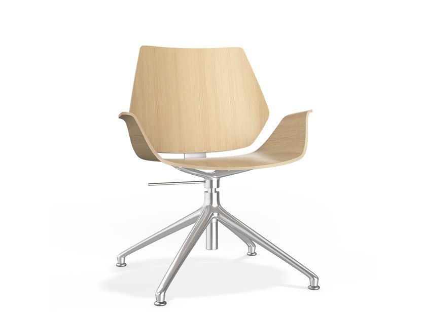 Swivel height-adjustable wooden chair with armrests CENTURO IV | Wooden chair by Casala