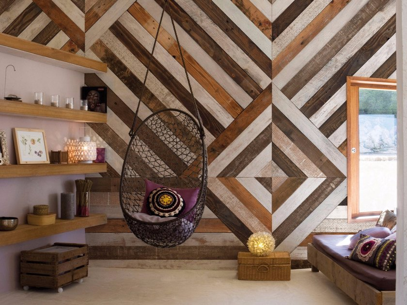 Wood effect geometric panoramic wallpaper WOODEN by Inkiostro Bianco