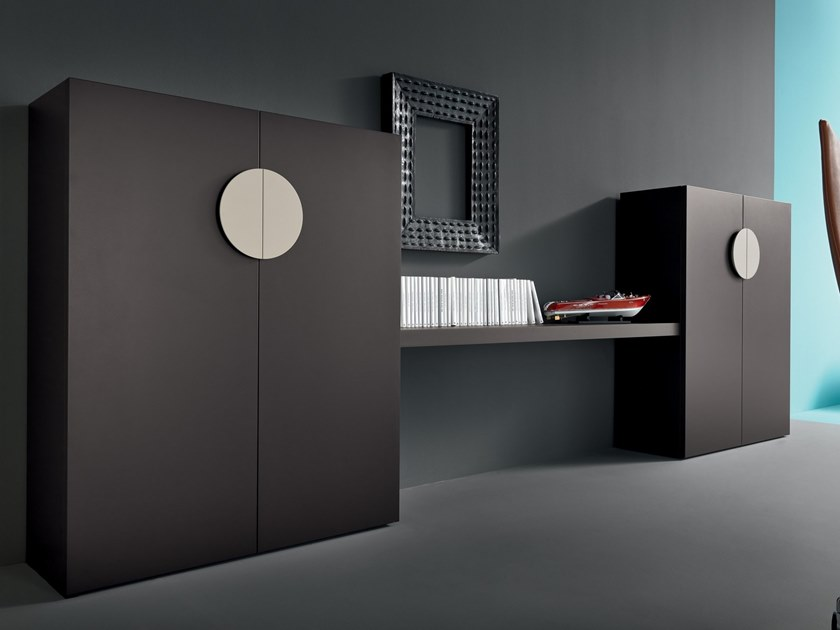 Lacquered office storage unit with hinged doors Wooden office storage unit by Martex