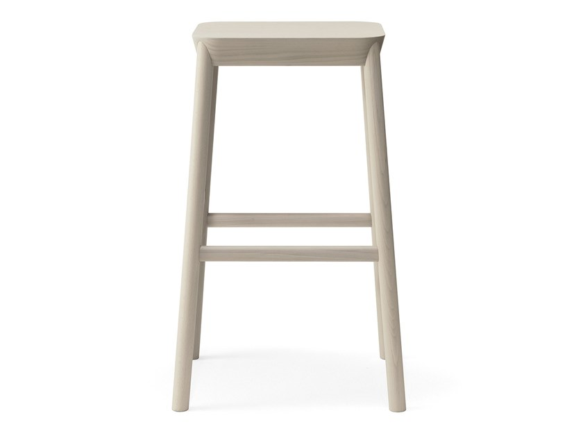 High beech stool with footrest DRUM | Stool with footrest by BILLIANI