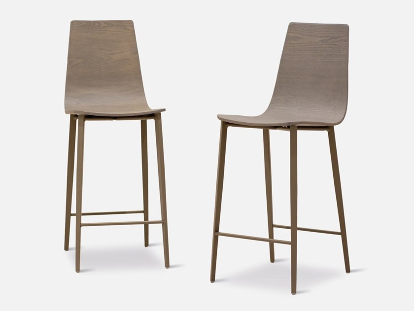 High wooden stool with footrest SALT   Wooden stool by MOBLIBERICA