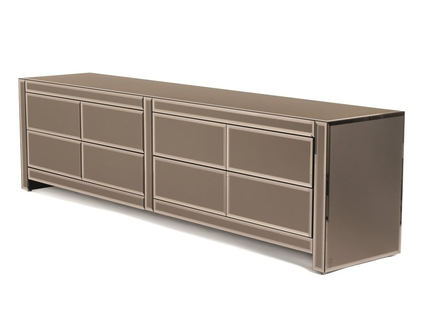 Glass sideboard with drawers WOODY | Sideboard by Visionnaire