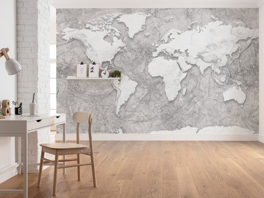 Nonwoven wallpaper with map WORLD RELIEF by Komar