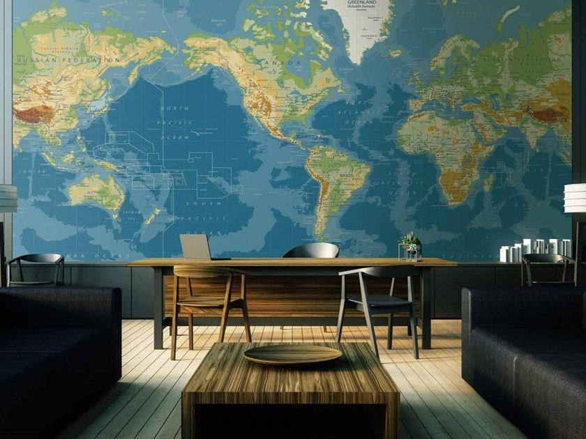 Digital Printing Wallpaper With Map Worldmap By Lgd01