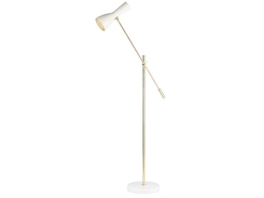 Reading floor lamp with swing arm WORMHOLE 01j by Il Bronzetto