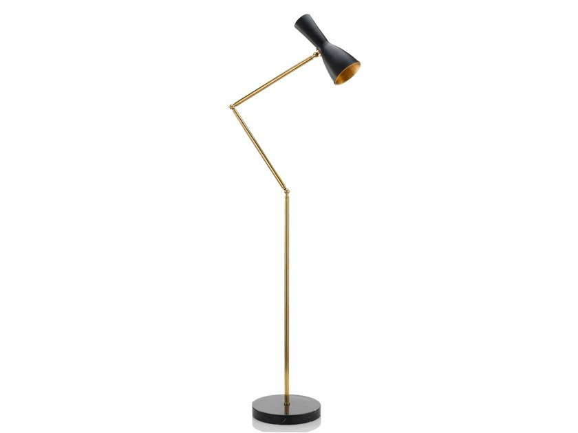 Direct light adjustable floor lamp WORMHOLE 02 by Il Bronzetto