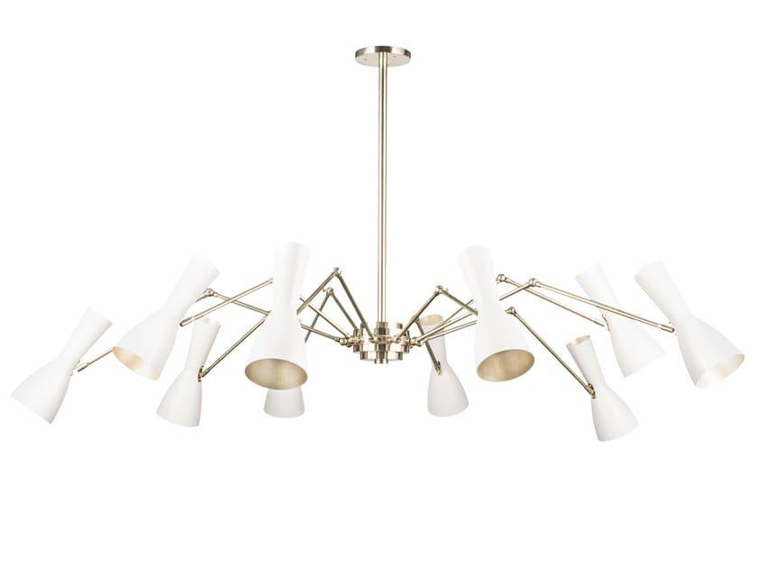 Swivel brass chandelier WORMHOLE 11-10 Luci by Il Bronzetto