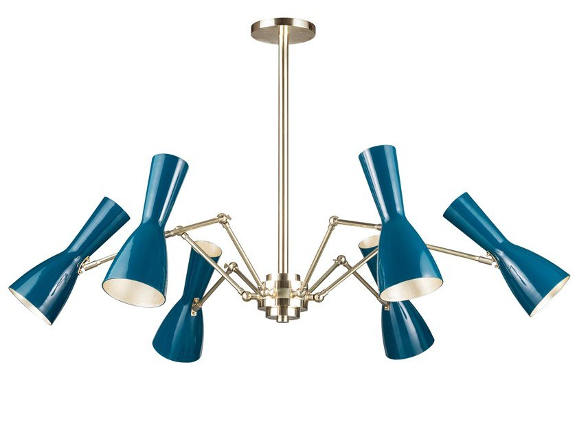 Swivel brass chandelier WORMHOLE 11-6 Luci by Il Bronzetto