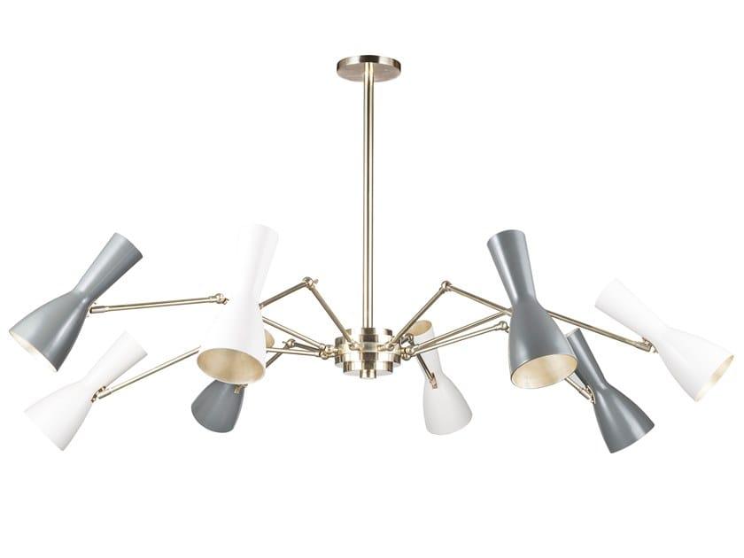 Swivel brass chandelier WORMHOLE 11-8 Luci by Il Bronzetto