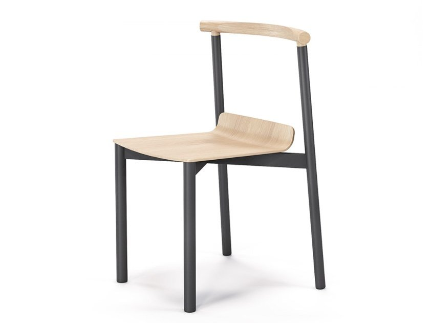 Open back steel and wood chair WOX METAL by Aliticon