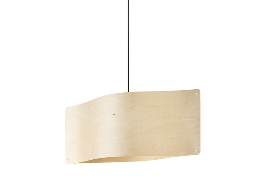 LED wood veneer pendant lamp WIDE PENDANT LARGE by Finom Lights