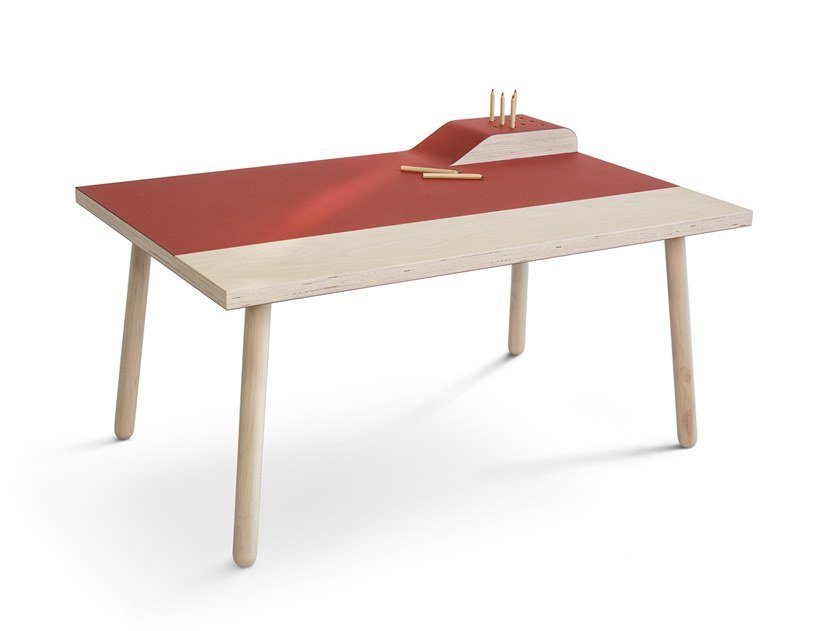 Writing desk with linoleum finish Writing desk by Forbo