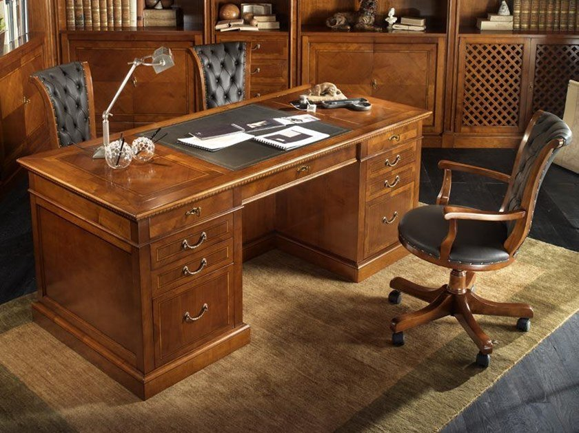 Rectangular cherry wood writing desk with drawers CA' REZZONICO | Writing desk by MOLETTA