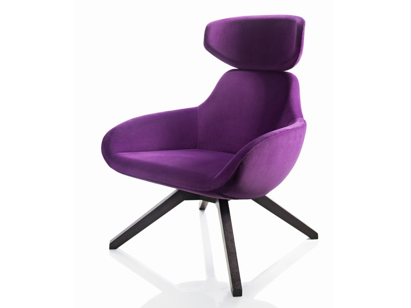 Upholstered ash armchair with headrest X 2BIG | Armchair by ALMA DESIGN