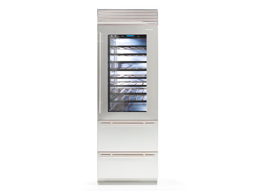 Contemporary style built-in stainless steel Wine cooler with glass door with built-in lights Class A X-PRO 75 | Glass and Stainless Steel wine cooler by FHIABA