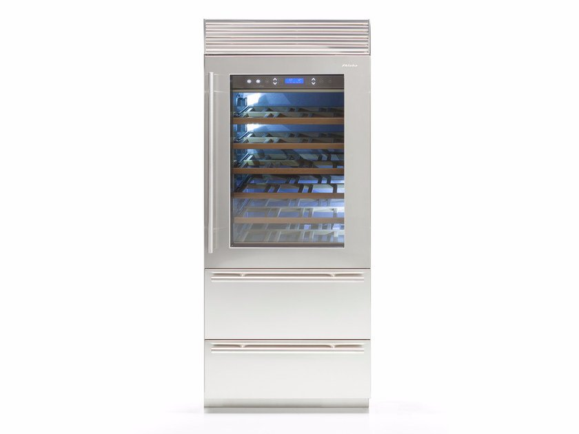 Wine cooler with built-in lights with glass door X-PRO 90 | Glass and Stainless Steel wine cooler by FHIABA