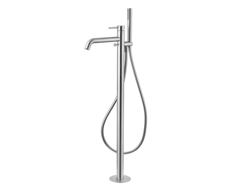 Contemporary style floor standing stainless steel bathtub mixer with diverter with hand shower X-STEEL 316 | Floor standing bathtub tap by newform