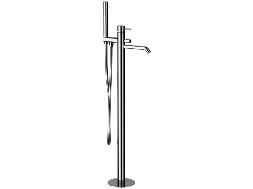 Floor standing bathtub mixer with diverter with hand shower X STYLE | Floor standing bathtub mixer by Remer Rubinetterie