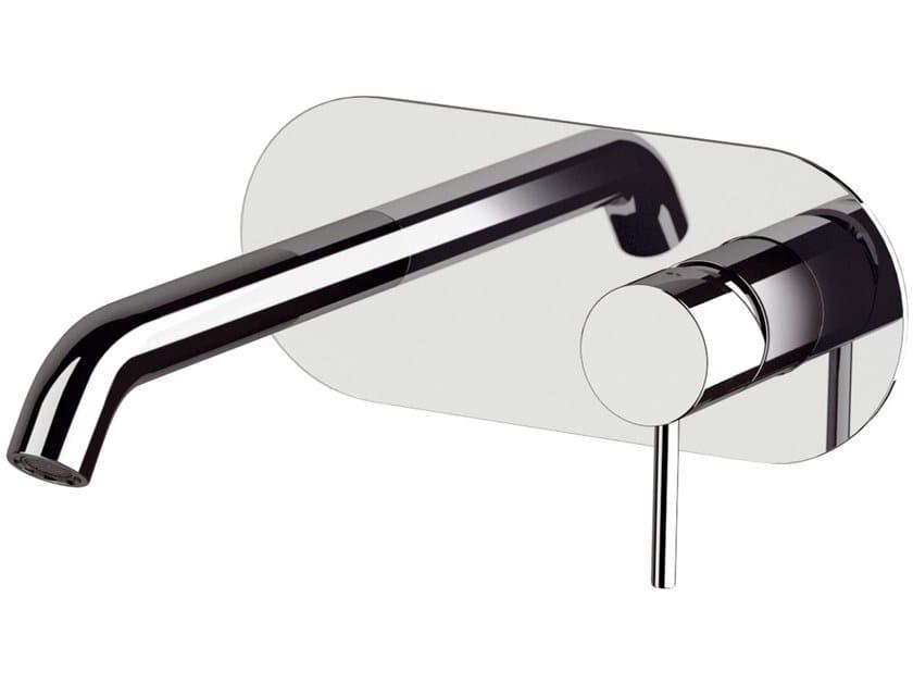 Wall-mounted single handle washbasin mixer with plate X STYLE | Wall-mounted washbasin mixer by Remer Rubinetterie