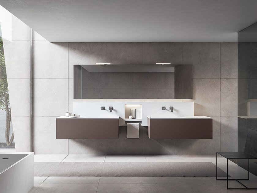 Double vanity unit with mirror XFLY 01 by BMT