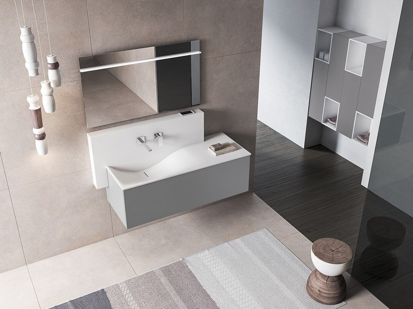 Wall-mounted vanity unit with cabinets XFLY 02 by BMT