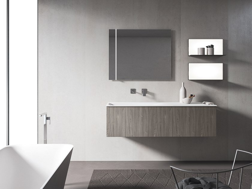 Wall-mounted vanity unit with mirror XFLY 08 by BMT