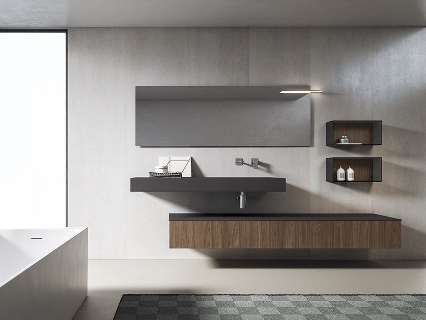 Rectangular wall-mounted washbasin XFLY 10 by BMT