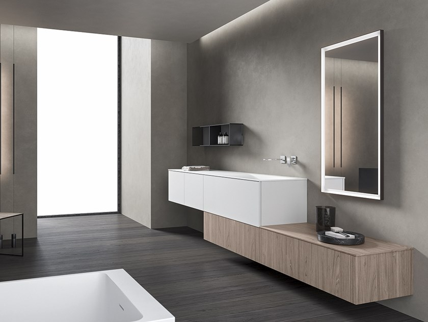 Wall-mounted vanity unit with mirror XFLY 11 by BMT