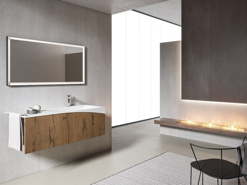 Wall-mounted vanity unit with mirror XFLY 14 by BMT