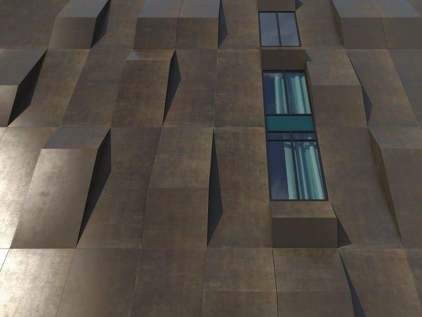 Ultra thin laminated stoneware wall tiles with metal effect XLIGHT RUST DARK by URBATEK
