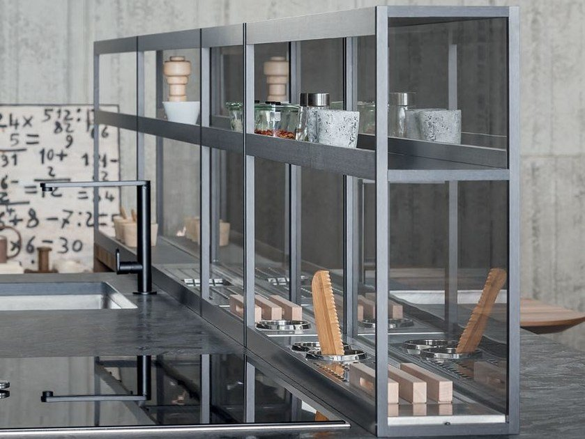 Stainless steel kitchen equipped track XPLAIN by Zampieri Cucine