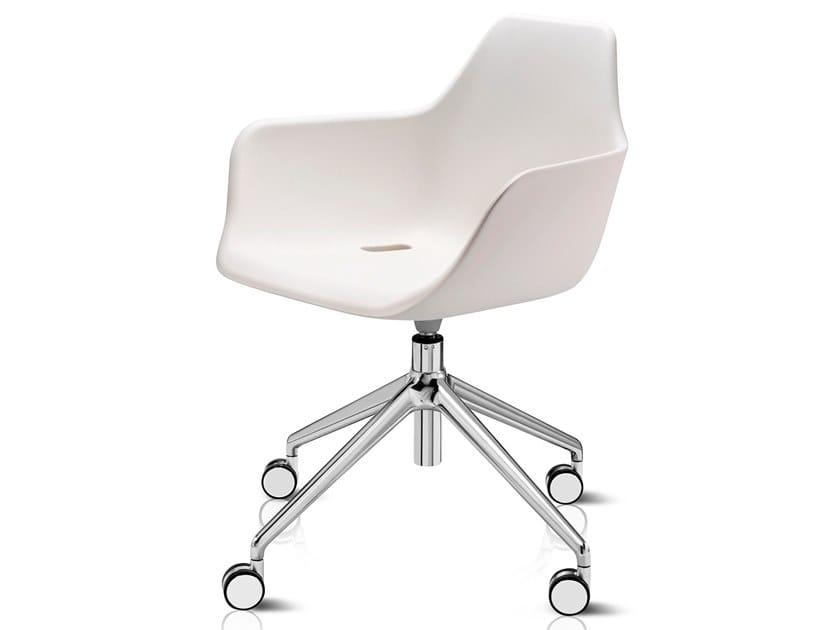 Swivel polyethylene chair with 4-spoke base with casters Y CHAIR   Chair with casters by ALMA DESIGN