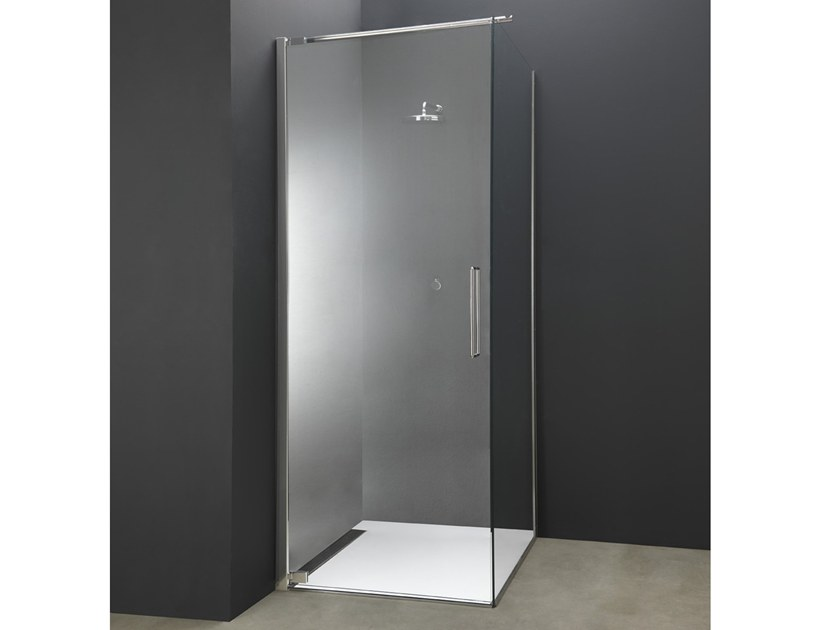 Corner Glass And Steel Shower Cabin With Hinged Door Y2 | Corner Shower  Cabin By AISI