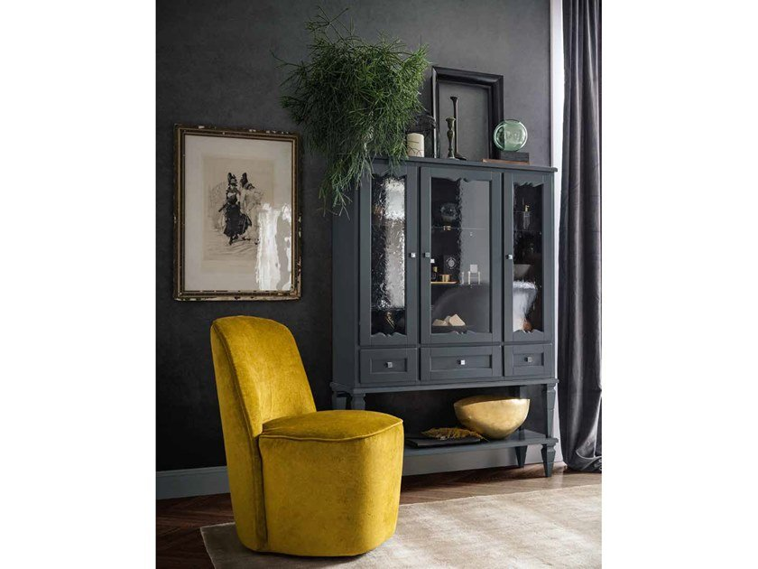 Tall wood and glass bathroom cabinet with doors YORK 41 by Cerasa