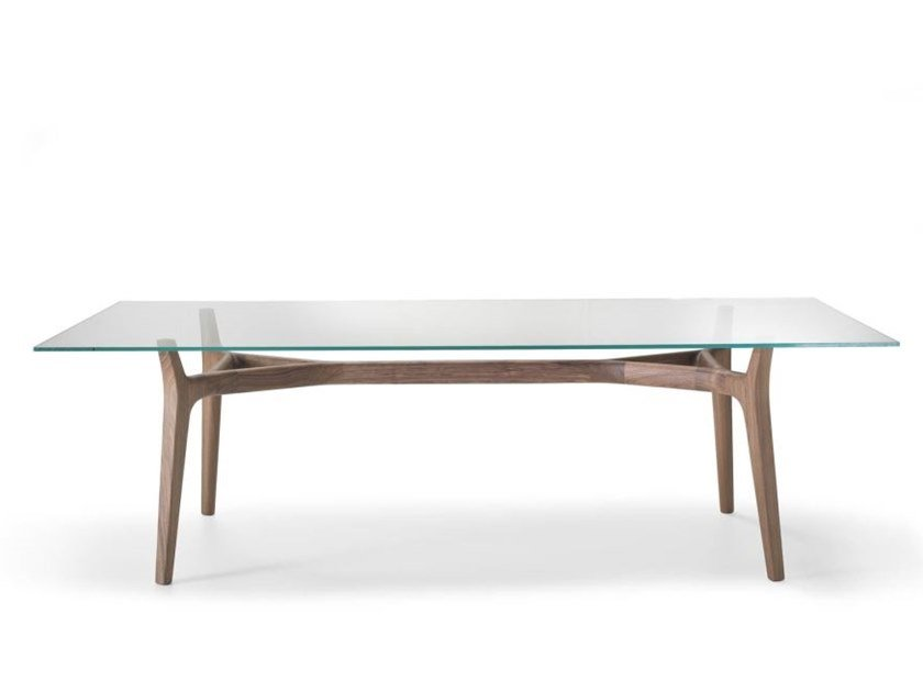 Rectangular wood and glass table YORK by i 4 Mariani