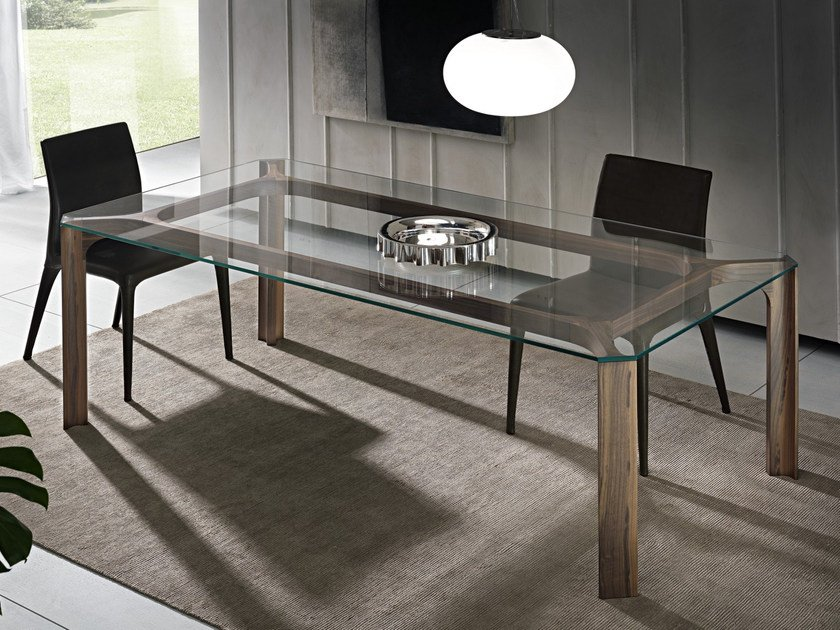 Rectangular wood and glass table YOUNG by Pacini & Cappellini